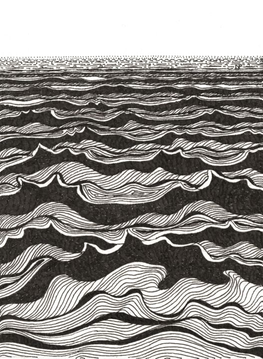 SEA WAVES I - Drawing,  7.5x5.5 in, ©2019 by Nives Palmić -                                                                                                                                                                                                                                                                                                                                                                                                                                                                                                                                                                                                                                                                                                                                                                                                                                                                                                                                                                                                                                                                                              Abstract, abstract-570, Seascape, Abstract Art, Black and White, Nature, Water, sea scape, sea waves, graphical, black and white, ornamental, linear, nature patterns, sea surface, modern art, decorative, water movement, dynamic, expressive, imaginative, Nives Palmić, contemporary
