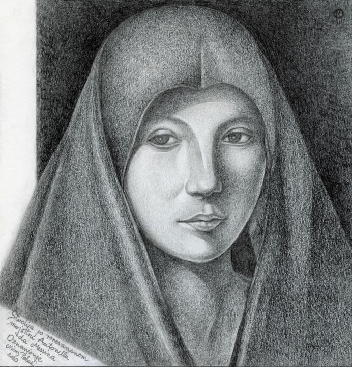 ANNUNCIATION STUDY AFTER RENAISSANCE MASTER ANTONELLO DA MES - Drawing,  7.8x7.6 in, ©2019 by Nives Palmić -                                                                                                                                                                                                                                                                                                                                                                                                                                                                                                                                                                                                                                                                                                                                                                          Figurative, figurative-594, Black and White, History, People, Portraits, Women, study after old masters, renaissance, annunciation, madona, famous paintings, famous faces, expressive, realistic drawing, mastery drawing