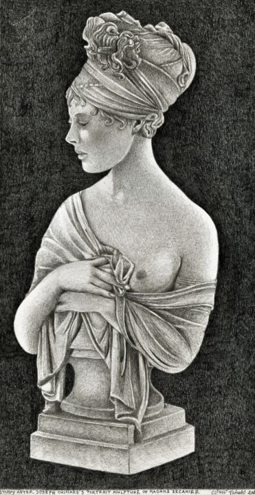 MADAME RECAMIER STUDY AFTER JOSEPH CHINARD - Drawing,  11.1x5.8 in, ©2020 by Nives Palmić -                                                                                                                                                                                                                                                                                                                                                                                                                                                                                                                                                                                                                                                                                                                                                                                                                      Figurative, figurative-594, Black and White, Erotic, History, Portraits, Women, after old masters, after sculpture, famous people, classicism, art history, women portrait, realistic figure, study, madame Recamier, masterpieces