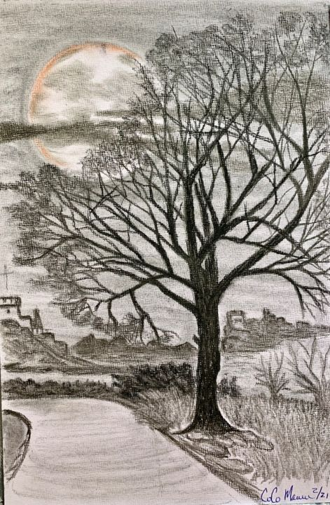 """Painting titled """"Dreams"""" by Co-Co Maurer, Original Art, Charcoal"""