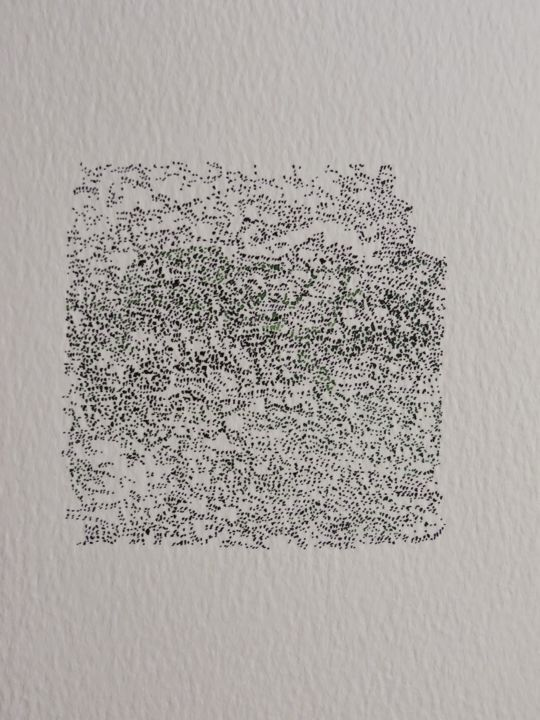 PETITES ENCRES - Drawing,  8.3x5.9 in, ©2014 by Nathalie Coulon -                                                                                                                                                                                                                                                                                                                                                              Abstract, abstract-570, Landscape, encres, paysages, pointillés, points