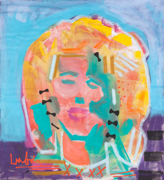 """Painting titled """"""""Portrait of a Girl…"""" by Noah Lubin, Original Art, Acrylic"""