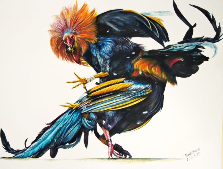 """Painting titled """"Cock fighting"""" by Noah Sian, Original Art, Watercolor"""