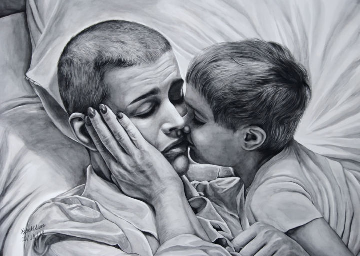 """Painting titled """"Mother and Child"""" by Noah Sian, Original Art, Watercolor"""