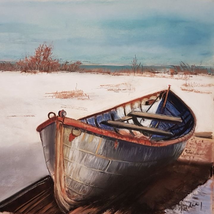 boat - Painting,  10x8 in, ©2019 by Nadia Sheikh -
