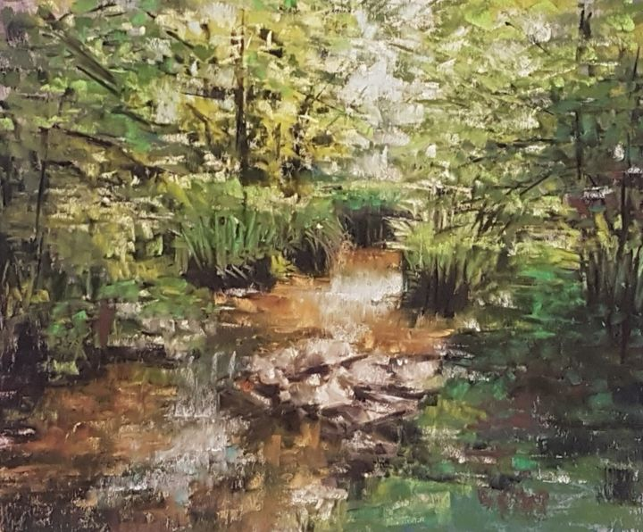 Pond - Painting,  10x13 in, ©2019 by Nadia Sheikh -
