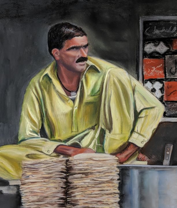 Lunch time - Painting,  12x11 in, ©2019 by Nadia Sheikh -