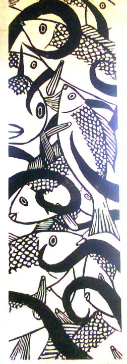 reve-de-pecheur.jpg - Printmaking,  56x17 cm ©2014 by Noël Barbot -                                        Figurative Art, Fish