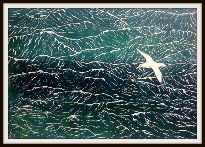 l-albatros.jpg - Printmaking,  11.8x16.5 in, ©2015 by Noël Barbot -                                                                                                                                                                                                                          Figurative, figurative-594, Nature, albatros