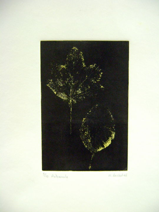 automnale-1.jpg - Printmaking,  15x10 cm ©2016 by Noël Barbot -                                            Figurative Art, Tree, feuille