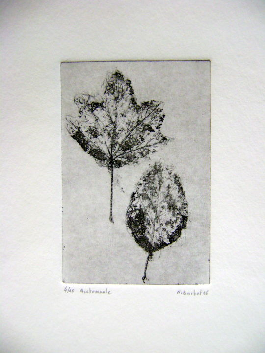 automnale-2.jpg - Printmaking,  15x10 cm ©2016 by Noël Barbot -                                            Figurative Art, Tree, feuille