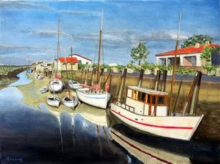 Mornac sur Seudre - Painting,  18.1x24 in, ©2012 by Patrick Noly -                                                              huile