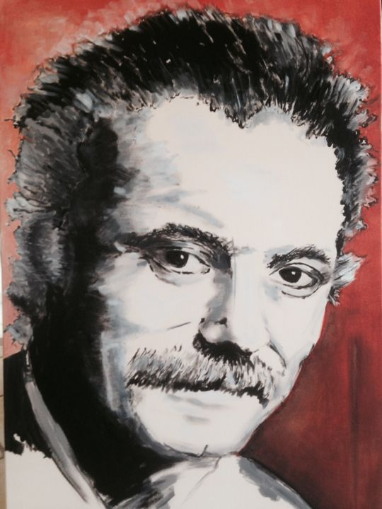 Georges Brassens - Painting,  36.2x25.6x0.8 in, ©2016 by Patrick Noly -                                                              Performing Arts
