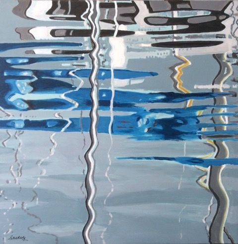 Reflets 4 - Painting,  23.6x23.6x2 in, ©2016 by Patrick Noly -                                                              Boat