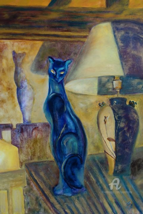 Rêverie du soir - Painting,  21.7x14.8x0.8 in ©2019 by Tatiana Le Metayer -                                                                                                                                Environmental Art, Figurative Art, Expressionism, Impressionism, Animals, Cats, Colors, Interiors, Still life, Chat, Cat, chat nocturne, cat in the home, black cat
