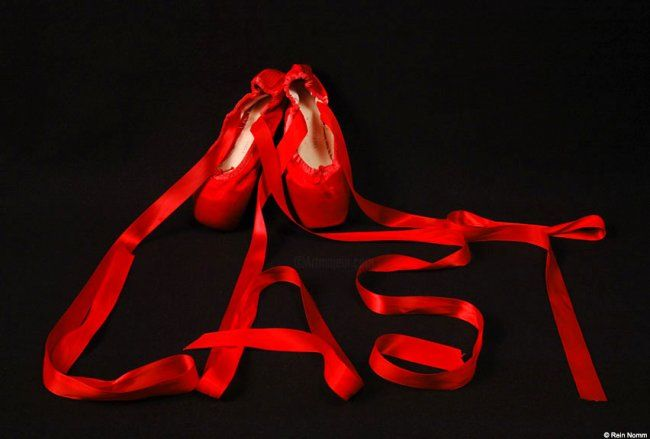 Photography,  12 x 16 in ©2005 by Rein Nomm -  Photography, red ballet slippers, toe shoes,
