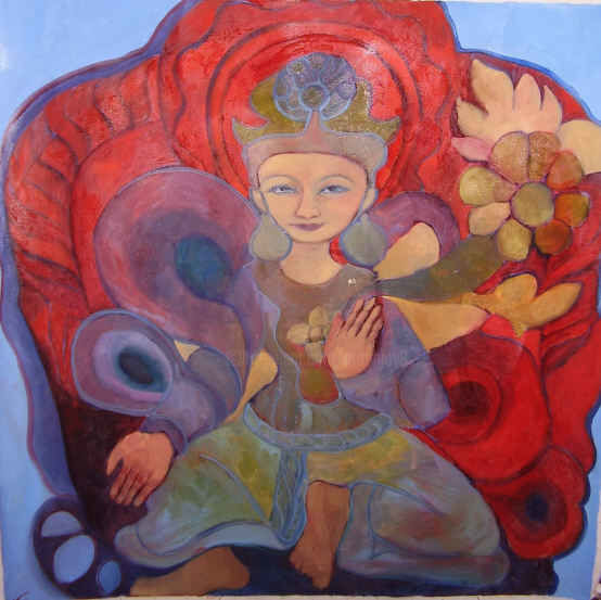 """Painting titled """"TARA ROUGE"""" by Njoy, Original Art, Oil Mounted on Stretcher frame"""