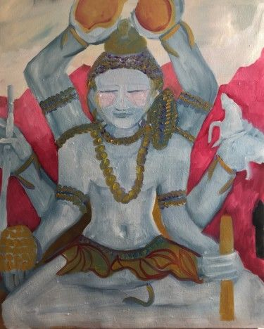 """Painting titled """"BODDHISATVA GRIS"""" by Njoy, Original Art, Oil Mounted on Stretcher frame"""
