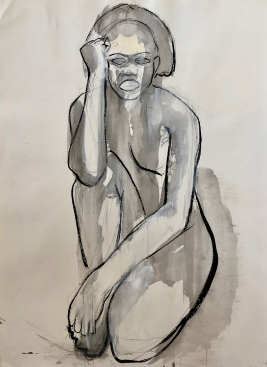 NU N°5 Large - Painting,  55.1x39.4x1.8 in, ©2000 by Norbert Engel -                                                                                                                                                                                                                                                                                                                                                                                                                                                                                                  Figurative, figurative-594, Women, Nude, Body, #nu, #gris, #beige, #taupe, #aquarelle