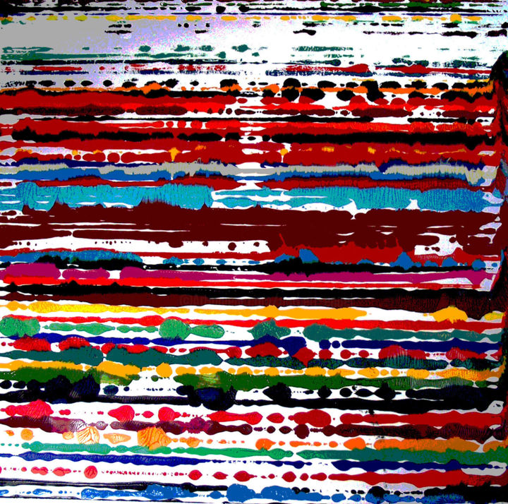 Peinture Acrylique PERSIENNE 2 - Painting,  47.2x47.2x1 in, ©2001 by Norbert Engel -                                                                                                                                                                                                                                                                                                                                                                                                                                                                                                  Abstract, abstract-570, Abstract Art, Colors, Light, Spirituality, #horizontal, #horizon, #couleurs, #Peinture#acrylique