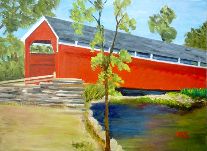 Jess' bridge - Painting,  18x24x1 in ©2017 by Noreen Schumann -                                                            Expressionism, Canvas, Rural life, covered bridge, Lower HumHumbert, Turkeyfoot county township, Somerset County