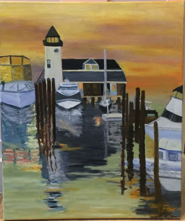 Saybrook Point Marina - Painting,  24x18x0.75 in ©2018 by Noreen Schumann -                                                            Expressionism, Canvas, Seascape, Sunrise, Marina, Long Island Sound