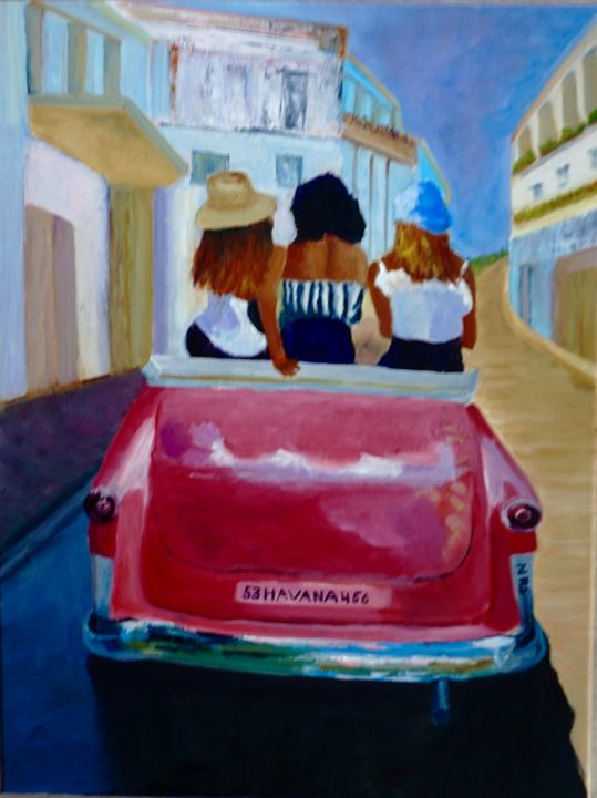 Havana Ford - Painting,  24x18x0.8 in, ©2018 by Noreen Schumann -                                                                                                                                                                                                                                                                                                                  Expressionism, expressionism-591, Car, Travel, Havana, Antique car