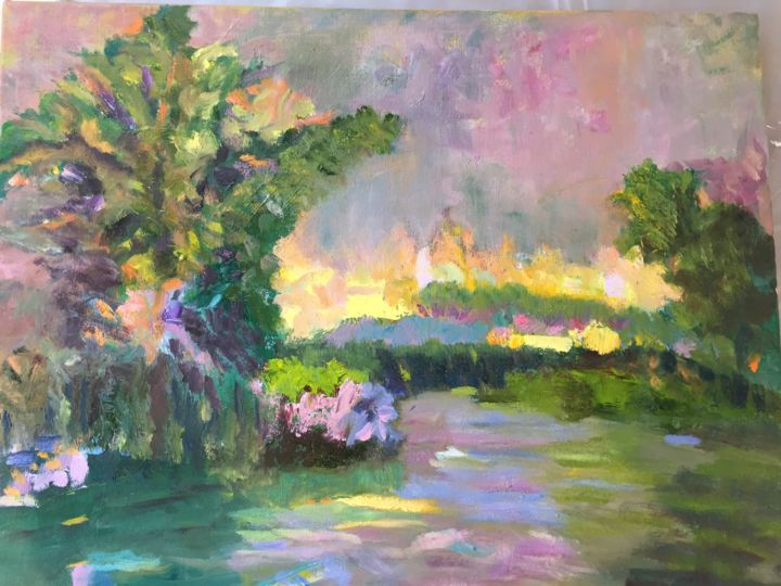 Garden Sunset - Painting,  20x16x0.75 in ©2018 by Noreen Schumann -                                                        Expressionism, Canvas, Landscape
