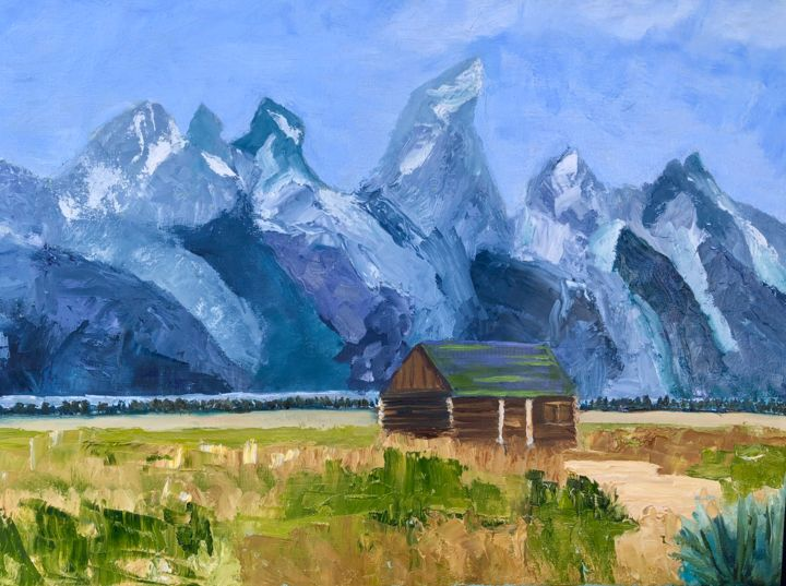 Tetons - Painting,  20x24x0.75 in ©2019 by Noreen Schumann -                                                            Expressionism, Canvas, Landscape, Tetons, Wyoming