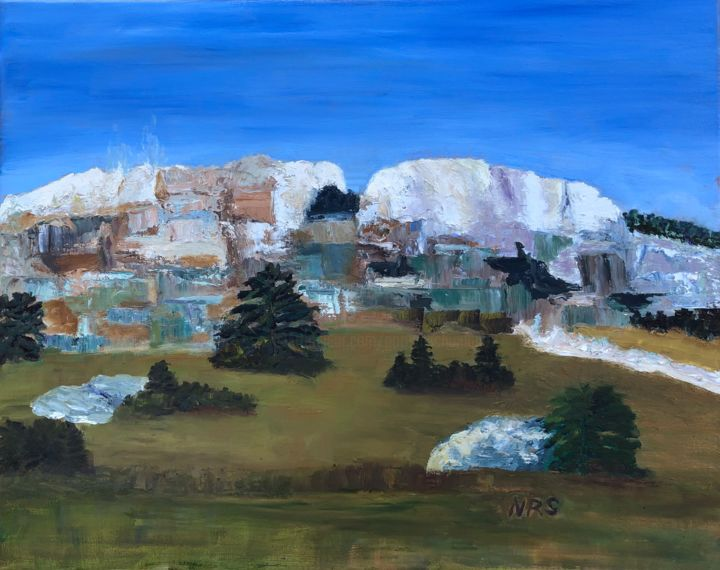 Mammoth Hot Spings 2 - Painting,  20x24x0.75 in ©2019 by Noreen Schumann -                                                            Expressionism, Canvas, Landscape, Mammoth Hot Springs, Wyoming, Travertine hot springs