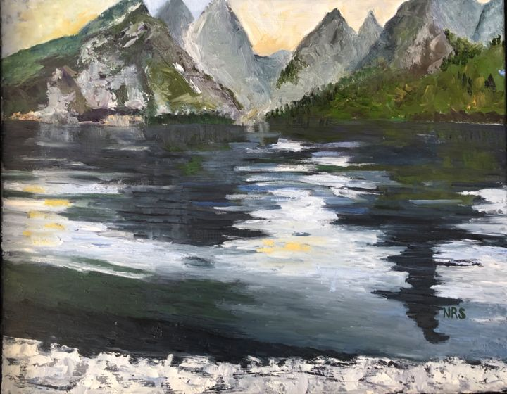 Jenny Lake - Painting,  18x21x1 in ©2019 by Noreen Schumann -                                                                    Expressionism, Landscape, Mountainscape, Nature, Lakes, Jenny Lake, Grand Teton National Park, Tetons