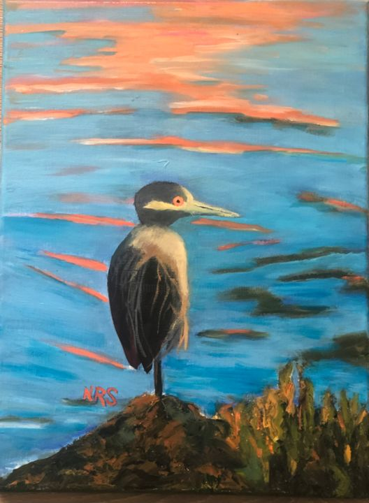 A regular on our bay - Painting,  16x12x0.5 in, ©2020 by Noreen Schumann -                                                                                                                                                                                                                                                                                                                  Expressionism, expressionism-591, artwork_cat.Birds, Richardson Bay, San Francisco, Birds