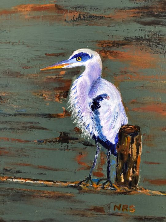 """Blue"" in our Bay - Painting,  16x12x0.5 in, ©2020 by Noreen Schumann -                                                                                                                                                                          Expressionism, expressionism-591, artwork_cat.Birds"
