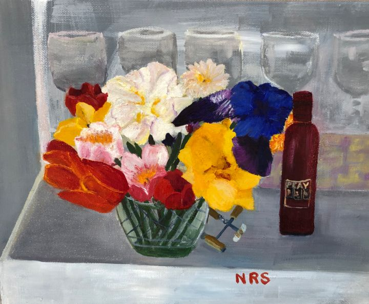Spring Hope - Painting,  11x14x0.5 in, ©2020 by Noreen Schumann -                                                                                                                                                                                                                          Expressionism, expressionism-591, Flower, still life