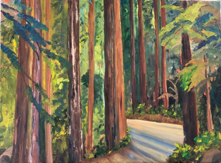 California Woods - Painting,  18x24x0.8 in, ©2020 by Noreen Schumann -                                                                                                                                                                                                                                                                      Expressionism, expressionism-591, Landscape, Woods, Redwoods