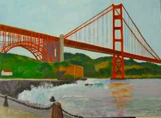 The Point - Painting,  22x24 in ©2011 by Noreen Schumann -                            Abstract Expressionism, Golden Gate Bridge