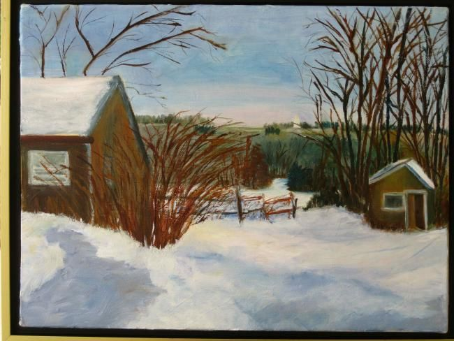 Tim's Barn - Painting,  12x16 in, ©2011 by Noreen Schumann -                                                              Winter rural scene