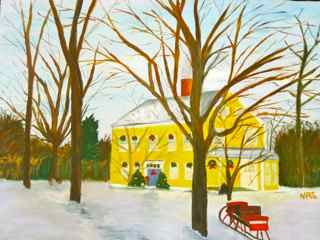 Winter Farmhouse - Painting,  12x16 in, ©2011 by Noreen Schumann -                                                                                                                                                                                                                                                                  Figurative, figurative-594, Pastoral, winter, holiday