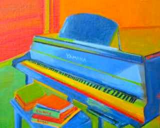Favorite Corner - Painting,  12x12 in, ©2012 by Noreen Schumann -                                                              Piano with art books on bench