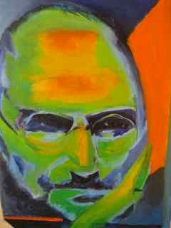 The visionary - Painting,  12x12 in, ©2012 by Noreen Schumann -                                                                                                                                                                          Abstract, abstract-570, portrait of Steve Jobs