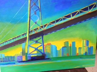 Oakland Bay Bridge - Painting,  24x18 in ©2012 by Noreen Schumann -                            Abstract Expressionism, Bridge and seascape in a contemporary style
