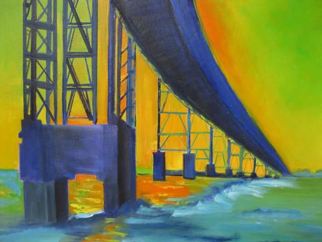 San Raphael Bridge - Painting,  16x22 in ©2012 by Noreen Schumann -                            Abstract Expressionism, Bridge/Water