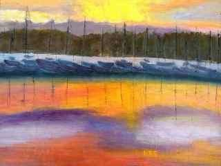 Marina Morning - Painting,  14x11 in ©2013 by Noreen Schumann -                            Abstract Expressionism, Sunrise over the bay