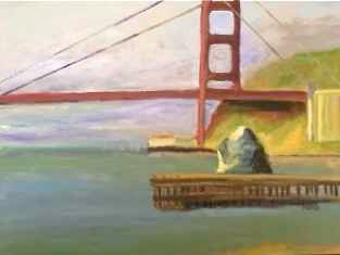 The Rock at Ft. Baker - Painting,  14x11 in ©2013 by Noreen Schumann -                            Abstract Expressionism, Bridge, alla prima study, Golden Gate Bridge