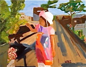 Pink hat on the dock - Painting,  16x20 in, ©2013 by Noreen Schumann -                                                                                                                                                                          Abstract, abstract-570, little girl with sunhat; houseboat community