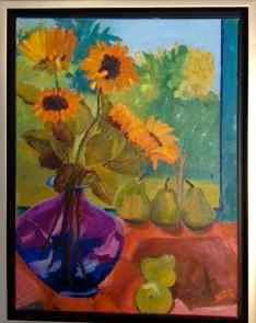 dare-to-be-different.jpg - Painting,  18x14 in, ©2013 by Noreen Schumann -                                                                                                                                                                          Abstract, abstract-570, Still life; sunflowers