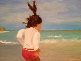 Fluff Your Aura 1 - Painting,  12x1x9 in ©2013 by Noreen Schumann -                            Abstract Expressionism, beach, child at beach, joy, freedom