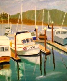 daisy.jpg - Painting,  24x20 in, ©2013 by Noreen Schumann -                                                                                                                                                                                                                      Abstract, abstract-570, Boats, Marina