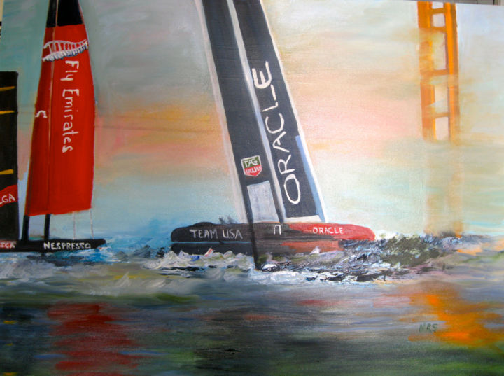 America's Cup 2013 - Painting,  22x28 in ©2014 by Noreen Schumann -            America's Cup 2013, Oracle and Emirates