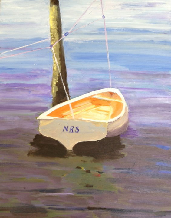 Moored - Painting,  14x11 in, ©2014 by Noreen Schumann -                                                                                                                                                                                                                                                                                                                  Expressionism, expressionism-591, Boat, Peace, Reflection, Secure
